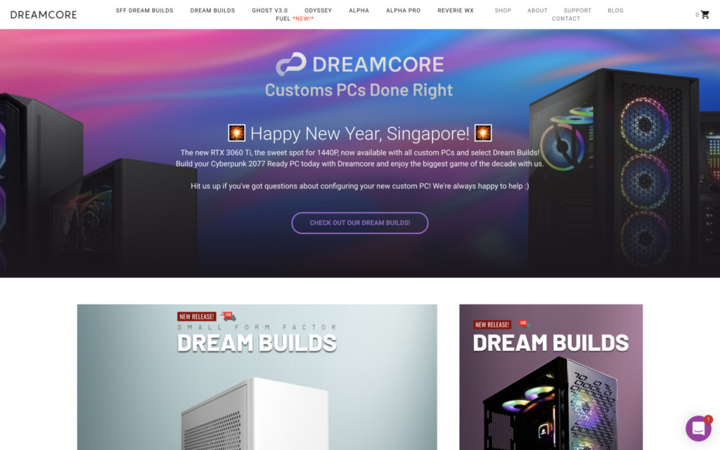 Dreamcore's Official Website (last taken during the New Year)